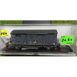KTRAIN 0703-C. H0 Vagón cerrado con balconcillo gris.
