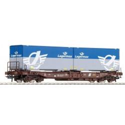 ROCO 47117. H0 Vagón plataforma con 2 contenedores LAGERMAX