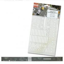 BUSCH 7196. Placa de adhesivos con marcas de carreteras H0