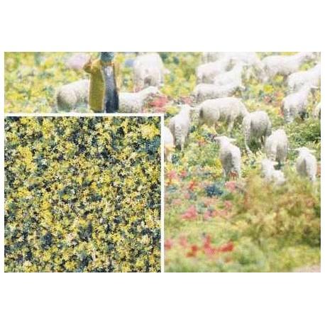 BUSCH 7358. Flocado flores verdes/amarillas H0/N