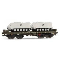 """Vagón Plataforma verde, tipo Rmms, con 2 TOA """"UN"""""""