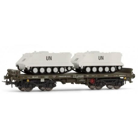 """ELECTROTREN 5170. Vagón Plataforma verde, tipo Rmms, con 2 TOA """"UN"""""""