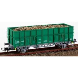 KTRAIN 0701-N. H0 Vagón abierto borde alto RENFE con carga de grava gruesa