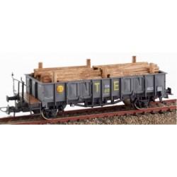KTRAIN 0704-I. H0 Vagón abierto borde medio RENFE gris con carga de madera