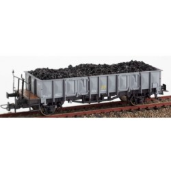 KTRAIN 0704-J. H0 Vagón abierto borde medio RENFE gris con carga de carbón.