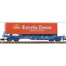 FLEISCHMANN 845351. N Vagón plataforma RENFE con remolque ESTRELLA DAMM