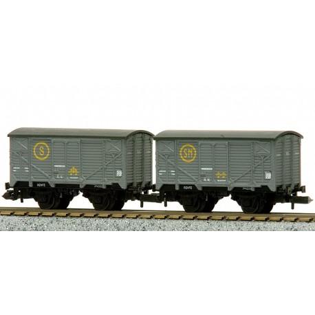 Ktrain 1755-A. 2 vagones unificados cerrados tipo J, gris claro