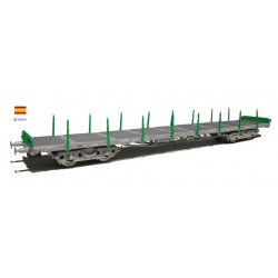 SUDEXPRESS PIV80000. H0 Vagón plataforma RENFE color verde y chasis gris.