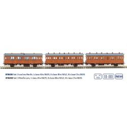 MABAR 81608. H0 Set 3 coches de madera RENFE de I, II III clase.