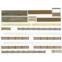 BUSCH 6017. H0 Set vallas , muros y puertas.