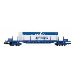 ARNOLD 6405. N vagón plataforma 4 ejes en color azúl, cargado con 3 contenedores CENTRAL LECHERA ASTURIANA.