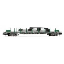 ARNOLD 6406. N Vagón plataforma 4 ejes en versión gris y verde, cargado con planchas de acero.
