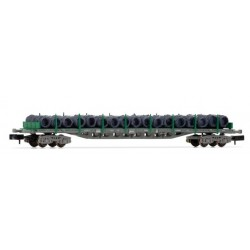 ARNOLD 6407. N vagón plataforma 4 ejes en versión gris y verde, cargado con bobinas de alambre.