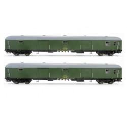 ELECTROTREN 5229. H0 Set 2 furgones RENFE DD-8100 verdes.