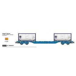 SUDEXPRESS RE04517. H0 Vagón plataforma Renfe con dos contenedores INTERBULK