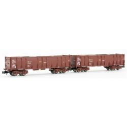 ARNOLD 6411. N set de 2 vagónes RENFE Ealos rojo óxido, cargados con troncos.