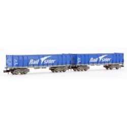 ARNOLD 6413. N Set 2 vagones Ealos RailSider azul.