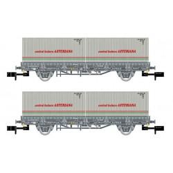 ARNOLD 6421. N Set 2 vagones plataforma con Contenedores CENTRAL LECHERA ASTURIANA.
