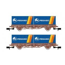 ARNOLD 6422. N Set 2 vagones plataforma con contenedores PEGASO.