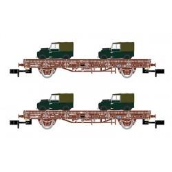 ARNOLD 6424. N Set 2 plataformas Renfe con Land Rovers militares.