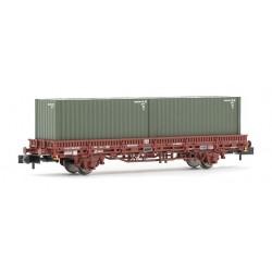 ARNOLD 6423. N Set 2 vagones plataforma con contenedores militares.