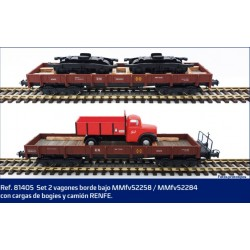 MABAR 81405. H0 Set 2 vagones borde bajo MMfv con cargas de bogies y camión Renfe