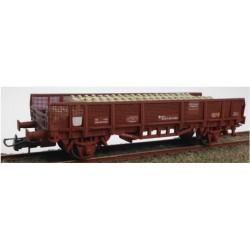 KTRAIN 0717-C. H0 Vagón especial para transporte traviesas. Rojo óxido.