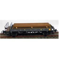 KTRAIN 0716-I. H0 Vagón borde bajo gris oscuro TE con carga carriles.