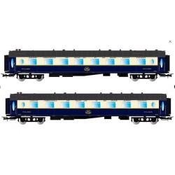 JOUEF 4127. H0 Set 2 coches CIWL FLECHA DE ORO, Pullman con luz interior.