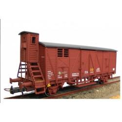 KTRAIN 0706-H. H0 Vagón Cerrado RENFE, con garita elevada J-301817, rojo óxido.