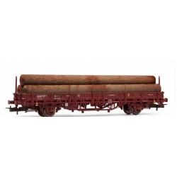ELECTROTREN 1658. H0 Vagón teleros RENFE con carga de troncos, rojo óxido.
