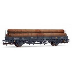 ELECTROTREN 1659. H0 Vagón teleros RENFE, con carga de troncos, gris.