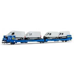 ELECTROTREN 6546. H0 Vagón plataforma GEFCO con 4 furgonetas blancas.