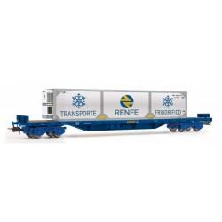 ELECTROTREN HE6007. H0 Vagón plataforma azul con contenedor frigorífico RENFE