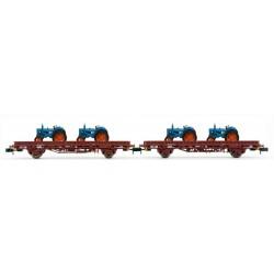 ARNOLD HN6488. N Set 2 plataformormas rojo óxido con 2 tractores.