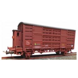 KTRAIN 0719-A. H0 Vagón Jaula con garita FG396152. Rojo óxido.
