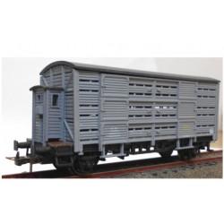 KTRAIN 0719-C. H0 Vagón jaula con garita FG396175, gris.